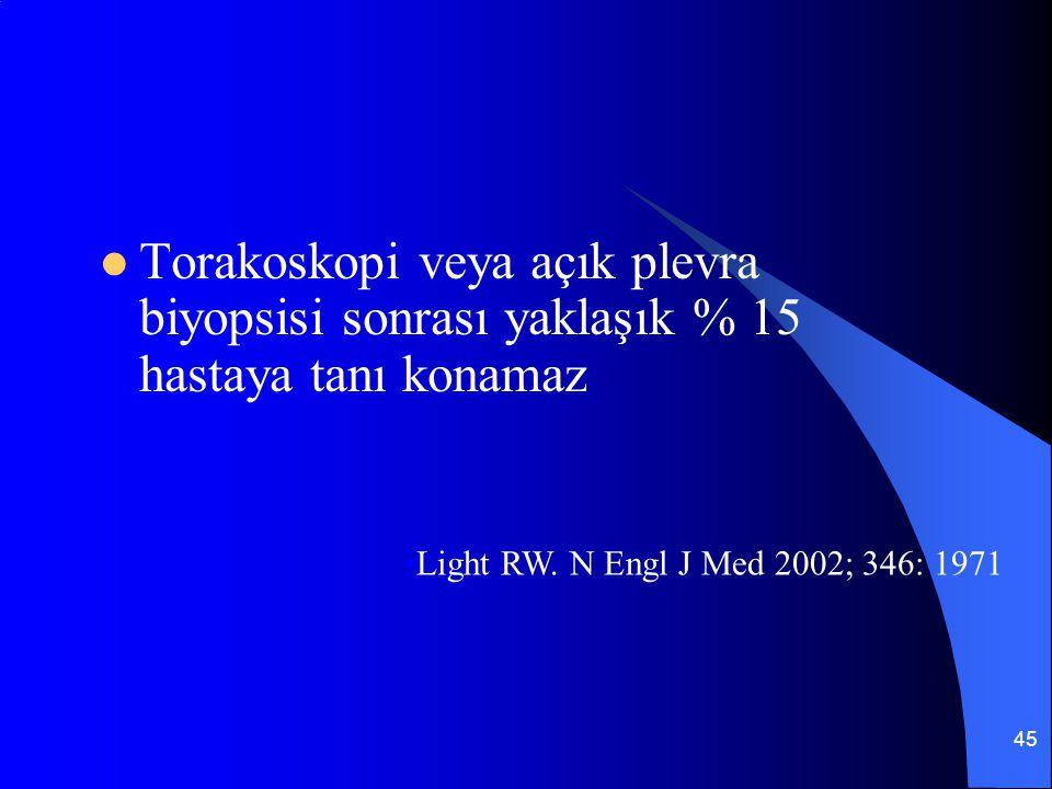 45 Torakoskopi veya açık plevra biyopsisi sonrası yaklaşık % 15 hastaya tanı konamaz Light RW. N Engl J Med 2002; 346: 1971