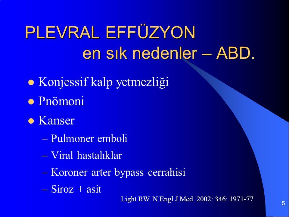 5 PLEVRAL EFFÜZYON en sık nedenler – ABD. Konjessif kalp yetmezliği Pnömoni Kanser –Pulmoner emboli –Viral hastalıklar –Koroner arter bypass cerrahisi