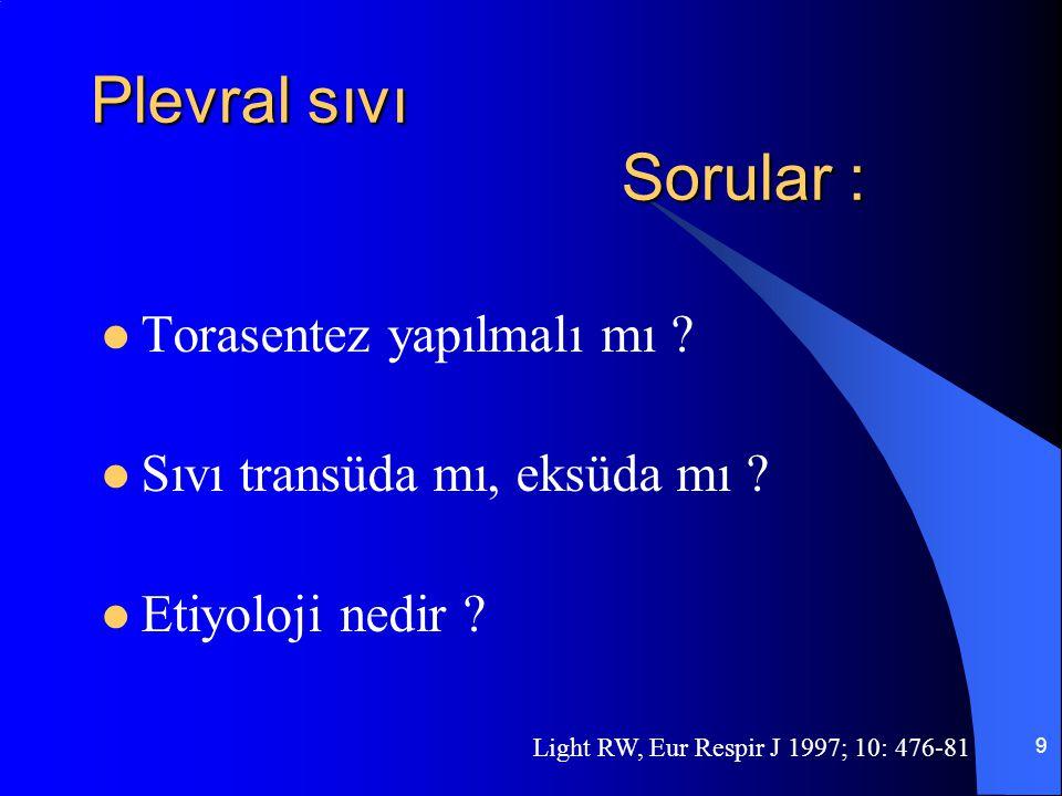 9 Plevral sıvı Sorular : Torasentez yapılmalı mı ? Sıvı transüda mı, eksüda mı ? Etiyoloji nedir ? Light RW, Eur Respir J 1997; 10: 476-81