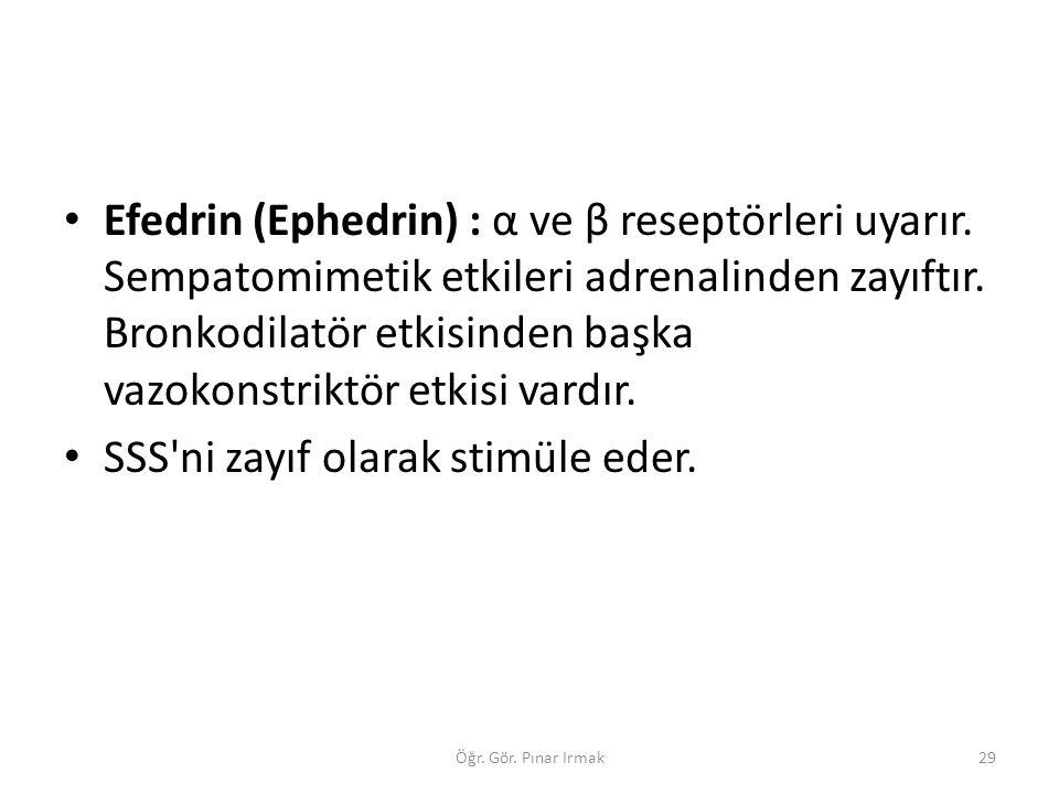 Efedrin (Ephedrin) : α ve β reseptörleri uyarır. Sempatomimetik etkileri adrenalinden zayıftır. Bronkodilatör etkisinden başka vazokonstriktör etkisi