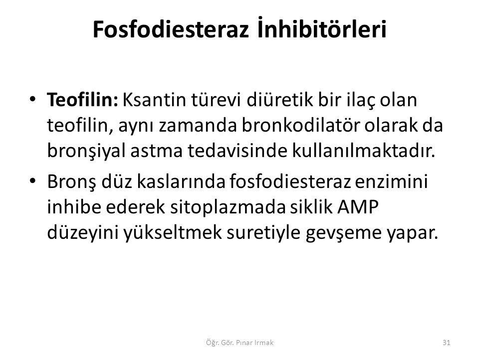 Fosfodiesteraz İnhibitörleri Teofilin: Ksantin türevi diüretik bir ilaç olan teofilin, aynı zamanda bronkodilatör olarak da bronşiyal astma tedavisind