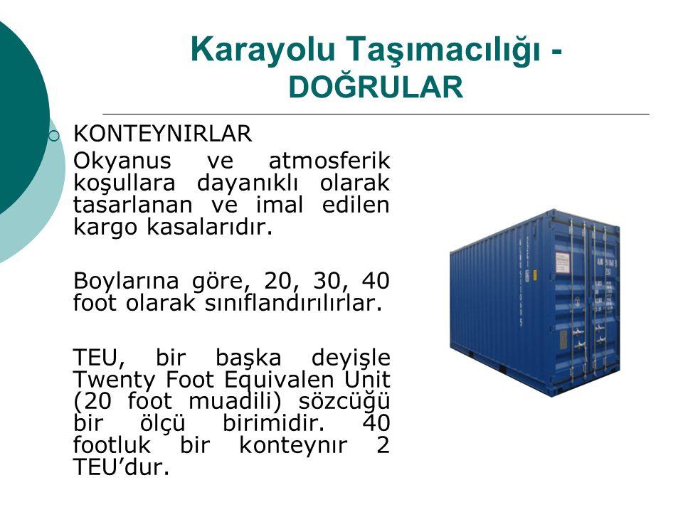 Karayolu Taşımacılığı - DOĞRULAR  KONTEYNIRLAR Open Top Type (Üzerleri açık ve branda ile kapatılabilir tip) Refrigitated Type (İzoleli ve soğutucu üniteli tip) Cylindirica Chemical Type (Kimyasal maddelerin taşındığı silindir şeklindeki tanker ve onun etrafına kaynatılmış olan ve silindiri standart bir ISO konteynır boyut ve şekline getiren çerçeveli tip)