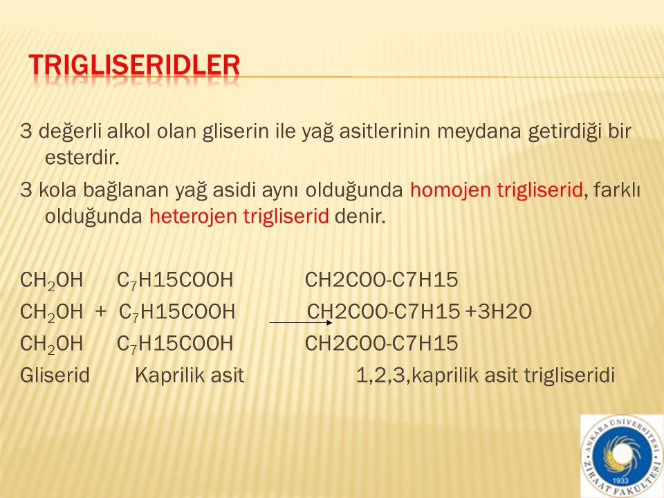  Trigliseridlerin bünyesinde yer alan yağ asitlerinin özellikleri trigliseridin özelliğini doğrudan etkilemektedir.
