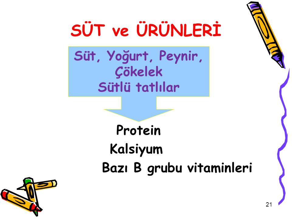 SÜT ve ÜRÜNLERİ Protein Kalsiyum Bazı B grubu vitaminleri Süt, Yoğurt, Peynir, Çökelek Sütlü tatlılar 21
