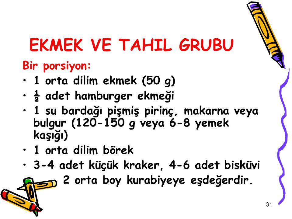 EKMEK VE TAHIL GRUBU Bir porsiyon: 1 orta dilim ekmek (50 g) ½ adet hamburger ekmeği 1 su bardağı pişmiş pirinç, makarna veya bulgur (120-150 g veya 6