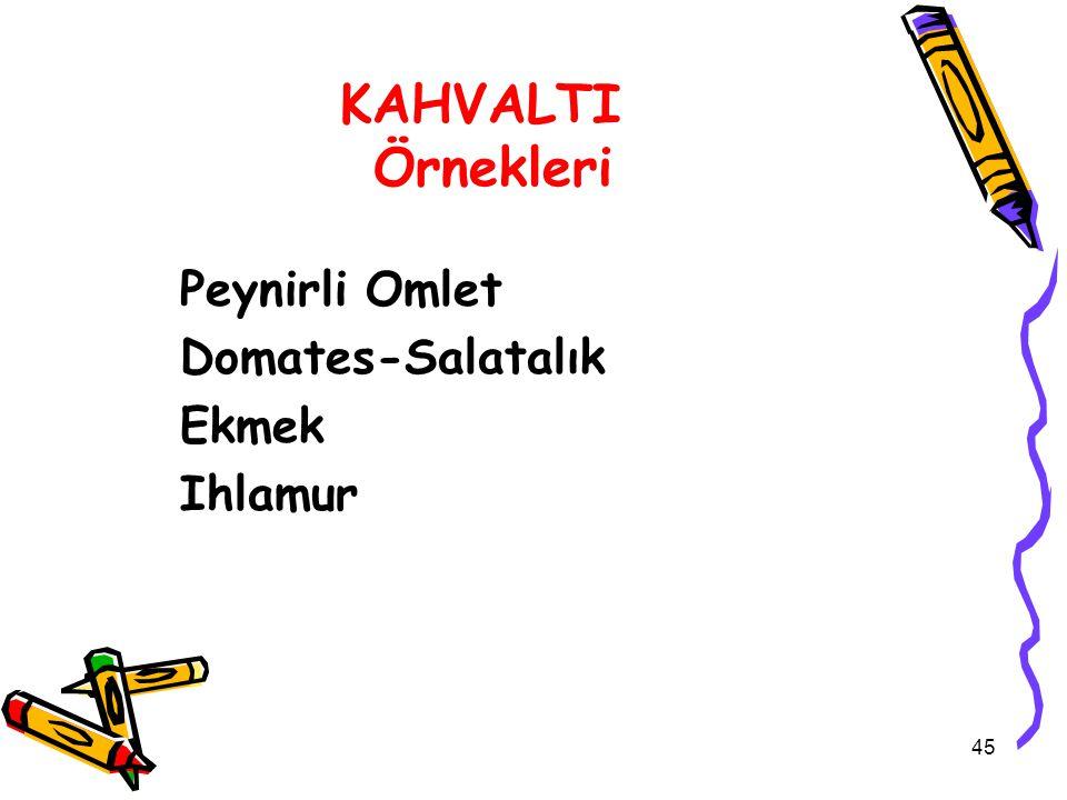 KAHVALTI Örnekleri Peynirli Omlet Domates-Salatalık Ekmek Ihlamur 45