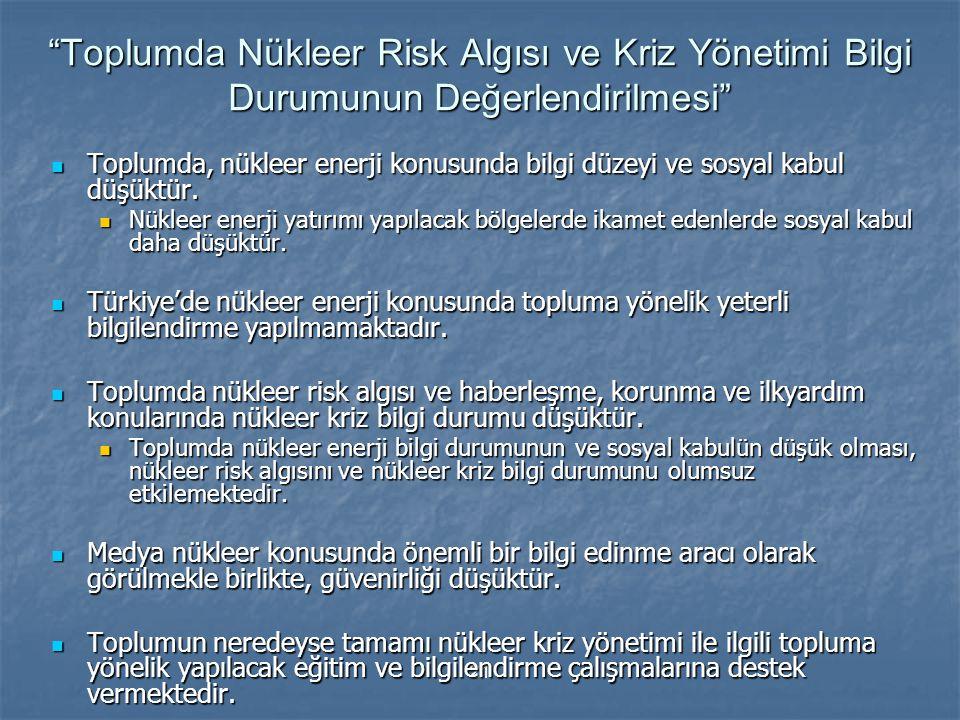 """21 """"Toplumda Nükleer Risk Algısı ve Kriz Yönetimi Bilgi Durumunun Değerlendirilmesi"""" Toplumda, nükleer enerji konusunda bilgi düzeyi ve sosyal kabul d"""