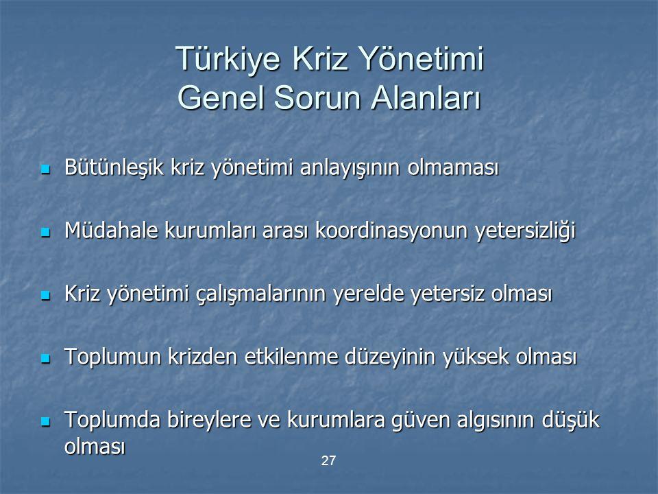 27 Türkiye Kriz Yönetimi Genel Sorun Alanları Bütünleşik kriz yönetimi anlayışının olmaması Bütünleşik kriz yönetimi anlayışının olmaması Müdahale kur