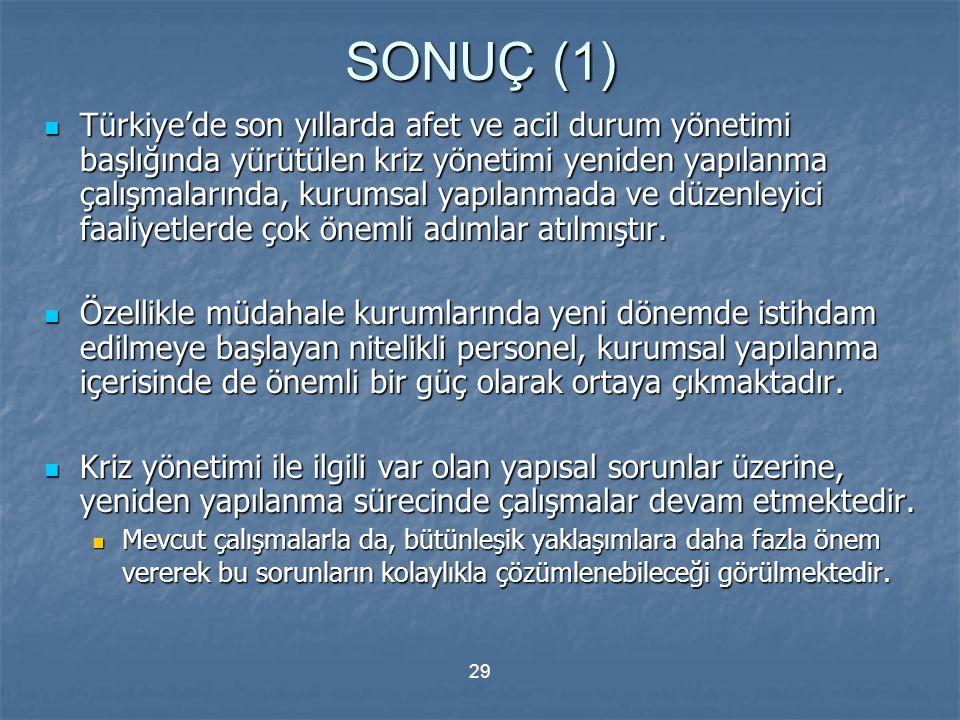 29 SONUÇ (1) Türkiye'de son yıllarda afet ve acil durum yönetimi başlığında yürütülen kriz yönetimi yeniden yapılanma çalışmalarında, kurumsal yapılan