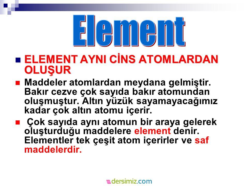 ELEMENT AYNI CİNS ATOMLARDAN OLUŞUR ELEMENT AYNI CİNS ATOMLARDAN OLUŞUR Maddeler atomlardan meydana gelmiştir.
