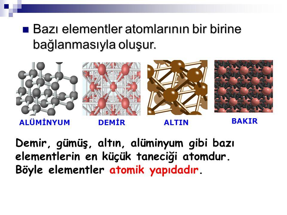 Bazı elementler atomlarının bir birine bağlanmasıyla oluşur. BAKIR ALTINDEMİRALÜMİNYUM Demir, gümüş, altın, alüminyum gibi bazı elementlerin en küçük