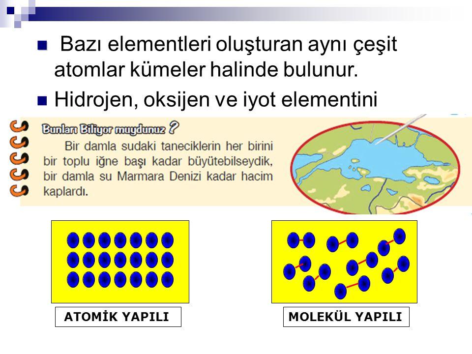 Bazı elementleri oluşturan aynı çeşit atomlar kümeler halinde bulunur. Hidrojen, oksijen ve iyot elementini oluşturan atomlar doğada ikişerli kümeler