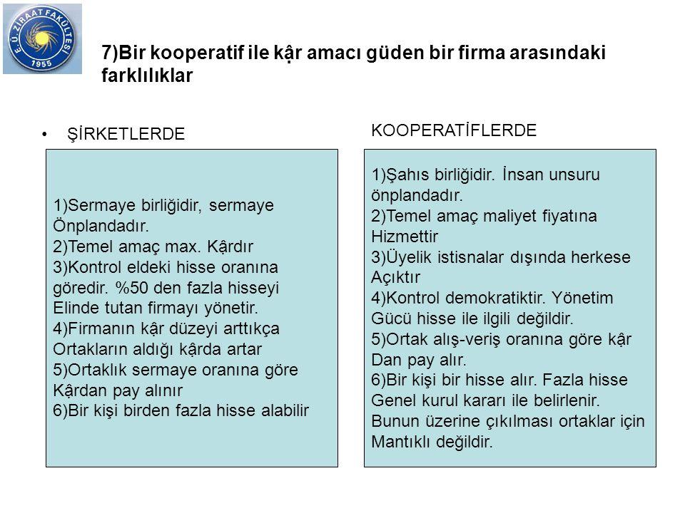 7)Bir kooperatif ile kậr amacı güden bir firma arasındaki farklılıklar ŞİRKETLERDE 1)Sermaye birliğidir, sermaye Önplandadır. 2)Temel amaç max. Kậrdır