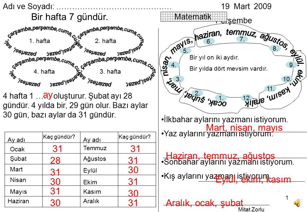 Mitat Zorlu 1 Adı ve Soyadı: ……….…………………………….19 Mart 2009 Perşembe Matematik Bir hafta 7 gündür.