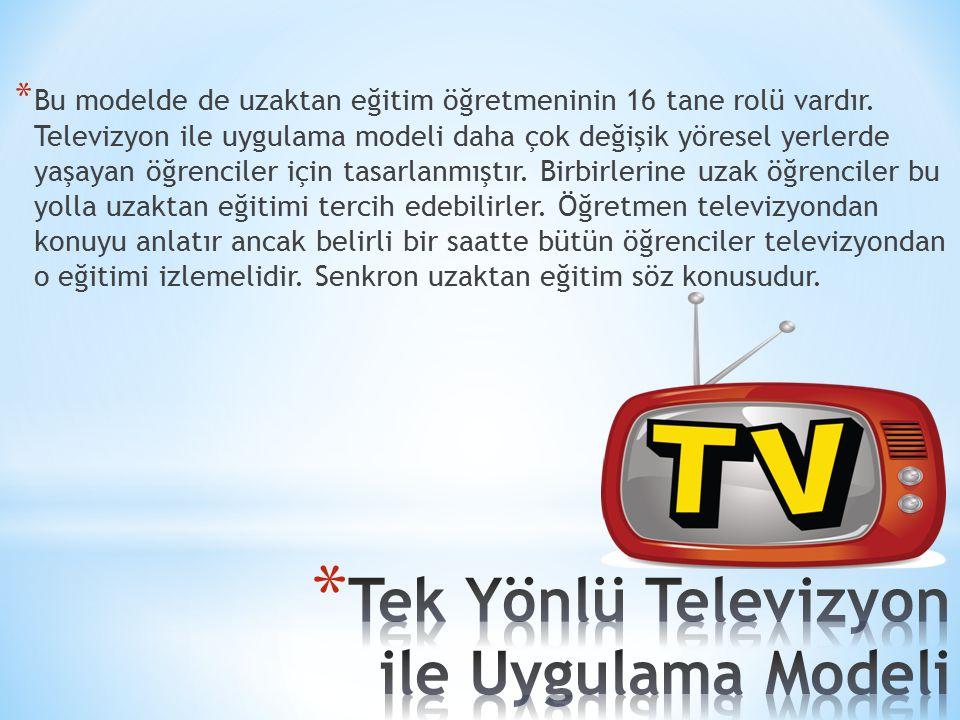 * Bu modelde de uzaktan eğitim öğretmeninin 16 tane rolü vardır. Televizyon ile uygulama modeli daha çok değişik yöresel yerlerde yaşayan öğrenciler i