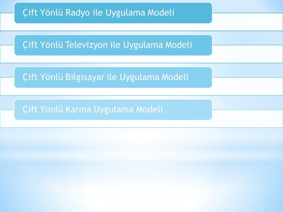 Çift Yönlü Radyo ile Uygulama ModeliÇift Yönlü Televizyon ile Uygulama ModeliÇift Yönlü Bilgisayar ile Uygulama ModeliÇift Yönlü Karma Uygulama Modeli