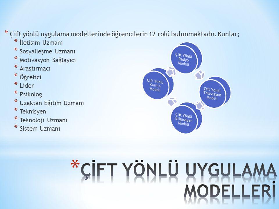 * Çift yönlü uygulama modellerinde öğrencilerin 12 rolü bulunmaktadır. Bunlar; * İletişim Uzmanı * Sosyalleşme Uzmanı * Motivasyon Sağlayıcı * Araştır