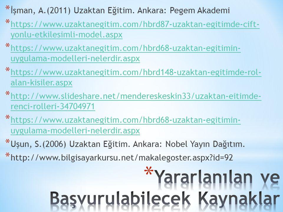 * İşman, A.(2011) Uzaktan Eğitim. Ankara: Pegem Akademi * https://www.uzaktanegitim.com/hbrd87-uzaktan-egitimde-cift- yonlu-etkilesimli-model.aspx htt