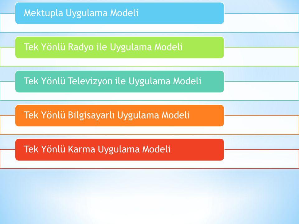 Mektupla Uygulama ModeliTek Yönlü Radyo ile Uygulama ModeliTek Yönlü Televizyon ile Uygulama ModeliTek Yönlü Bilgisayarlı Uygulama ModeliTek Yönlü Kar