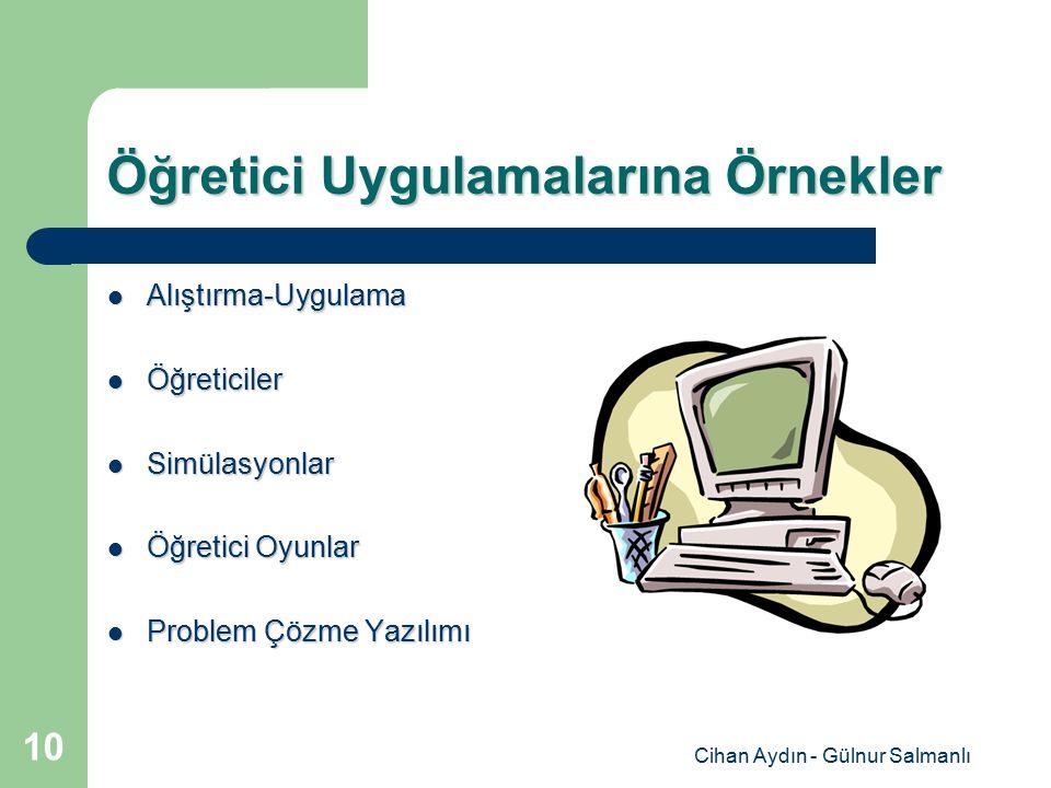 Cihan Aydın - Gülnur Salmanlı 10 Öğretici Uygulamalarına Örnekler Alıştırma-Uygulama Alıştırma-Uygulama Öğreticiler Öğreticiler Simülasyonlar Simülasy