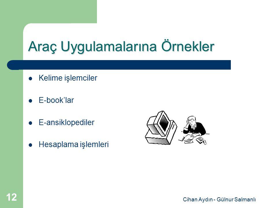 Cihan Aydın - Gülnur Salmanlı 12 Araç Uygulamalarına Örnekler Kelime işlemciler E-book'lar E-ansiklopediler Hesaplama işlemleri