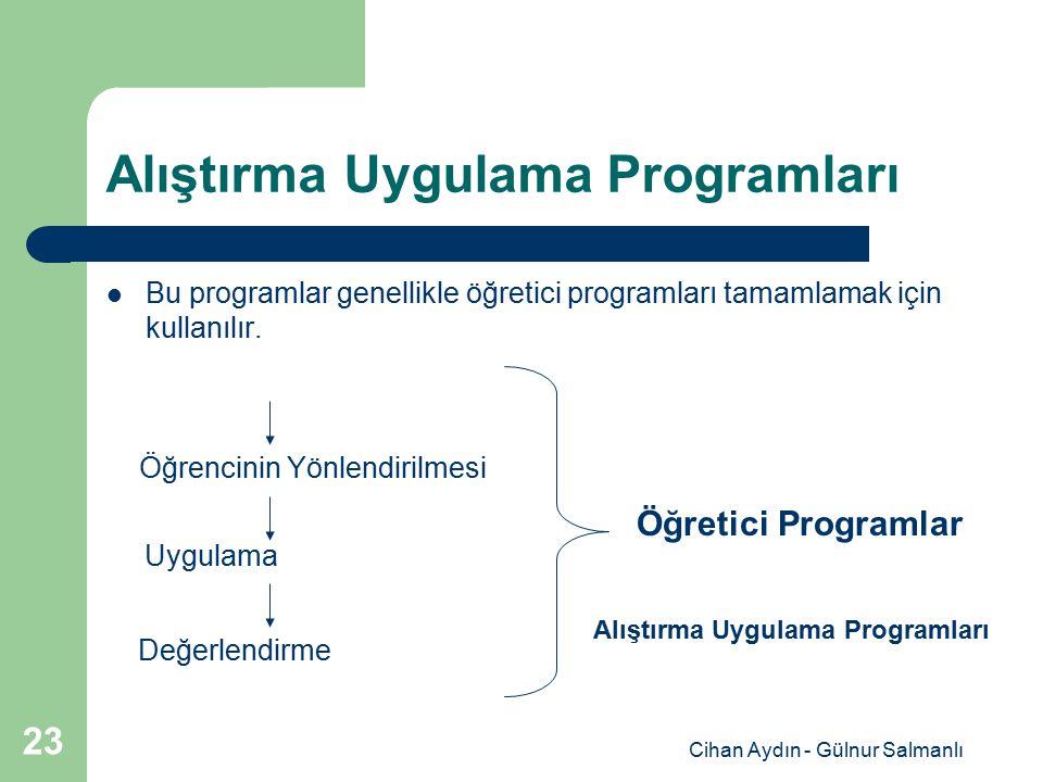 Cihan Aydın - Gülnur Salmanlı 23 Alıştırma Uygulama Programları Bu programlar genellikle öğretici programları tamamlamak için kullanılır. Öğrencinin Y