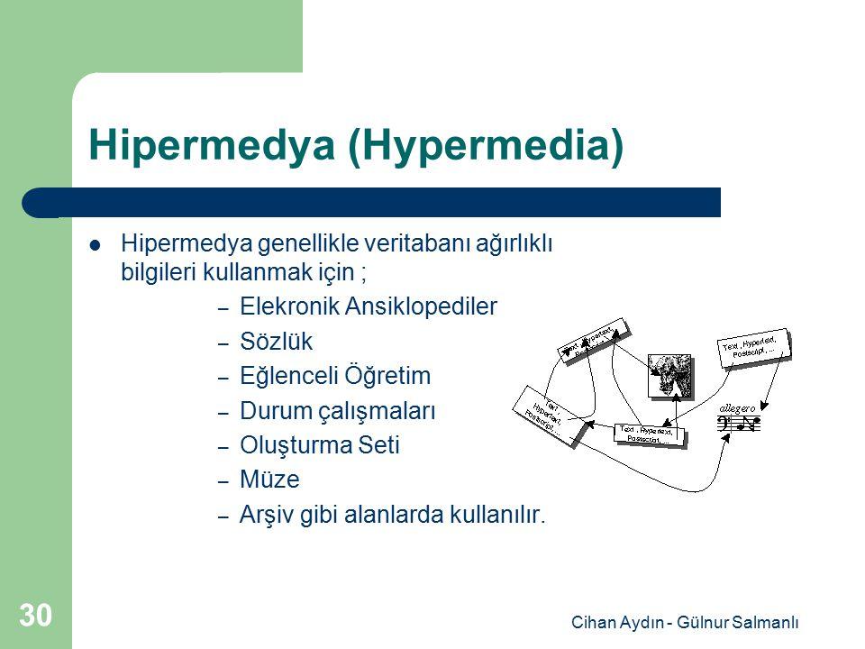 Cihan Aydın - Gülnur Salmanlı 30 Hipermedya (Hypermedia) Hipermedya genellikle veritabanı ağırlıklı bilgileri kullanmak için ; – Elekronik Ansiklopedi