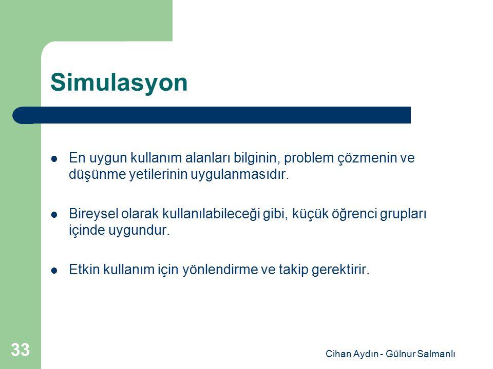 Cihan Aydın - Gülnur Salmanlı 33 Simulasyon En uygun kullanım alanları bilginin, problem çözmenin ve düşünme yetilerinin uygulanmasıdır. Bireysel olar