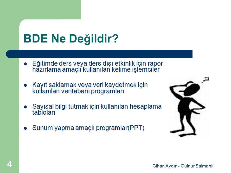 Cihan Aydın - Gülnur Salmanlı 4 BDE Ne Değildir? Eğitimde ders veya ders dışı etkinlik için rapor hazırlama amaçlı kullanılan kelime işlemciler Eğitim
