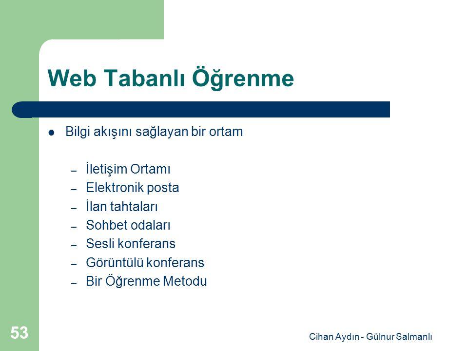 Cihan Aydın - Gülnur Salmanlı 53 Web Tabanlı Öğrenme Bilgi akışını sağlayan bir ortam – İletişim Ortamı – Elektronik posta – İlan tahtaları – Sohbet o