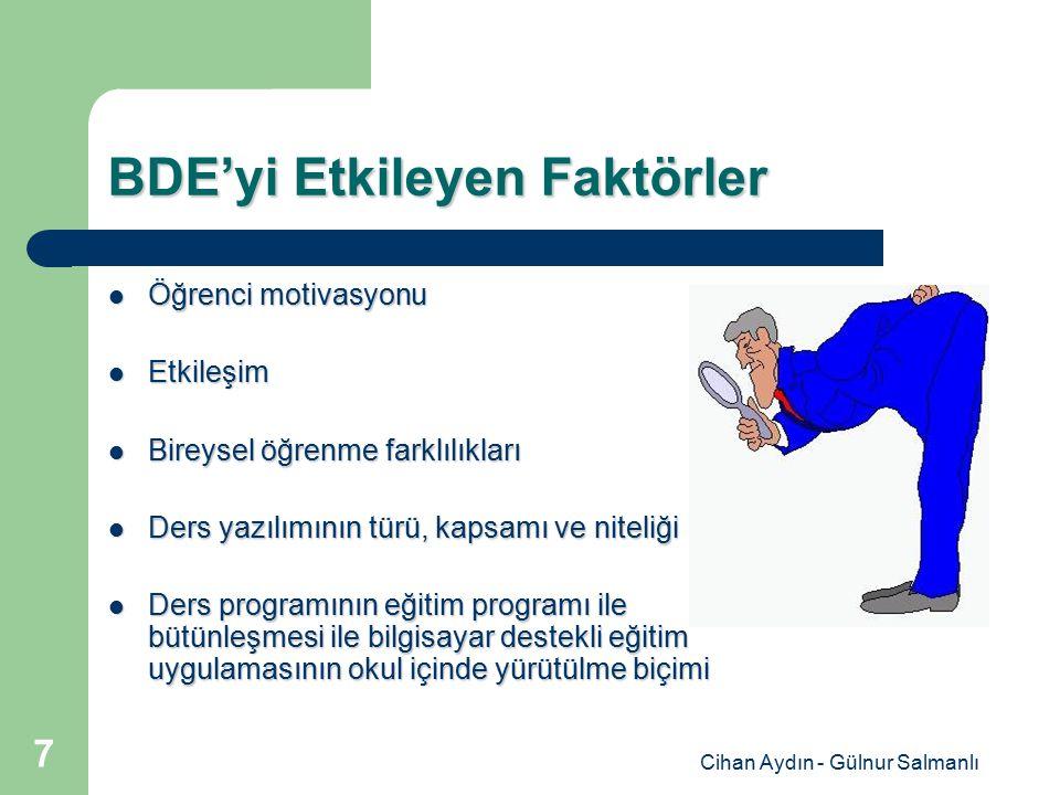 Cihan Aydın - Gülnur Salmanlı 7 BDE'yi Etkileyen Faktörler Öğrenci motivasyonu Öğrenci motivasyonu Etkileşim Etkileşim Bireysel öğrenme farklılıkları