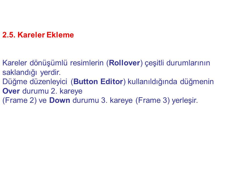 2.5. Kareler Ekleme Kareler dönüşümlü resimlerin (Rollover) çeşitli durumlarının saklandığı yerdir. Düğme düzenleyici (Button Editor) kullanıldığında