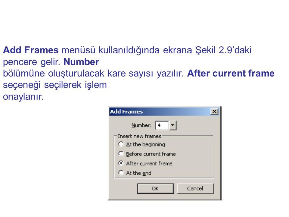 Add Frames menüsü kullanıldığında ekrana Şekil 2.9'daki pencere gelir. Number bölümüne oluşturulacak kare sayısı yazılır. After current frame seçeneği