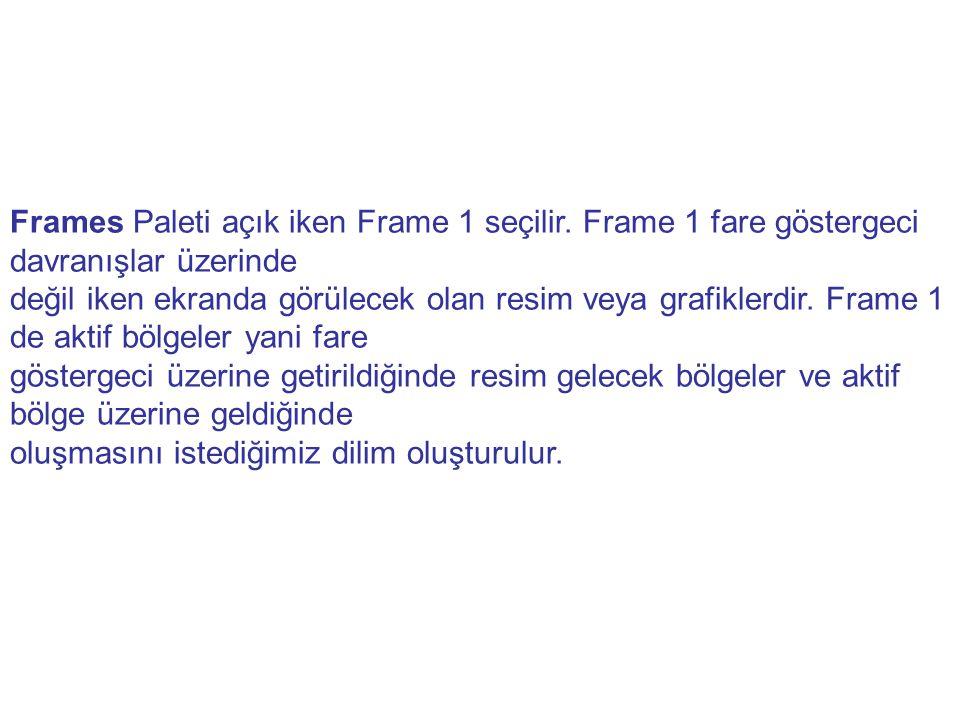 Frames Paleti açık iken Frame 1 seçilir. Frame 1 fare göstergeci davranışlar üzerinde değil iken ekranda görülecek olan resim veya grafiklerdir. Frame