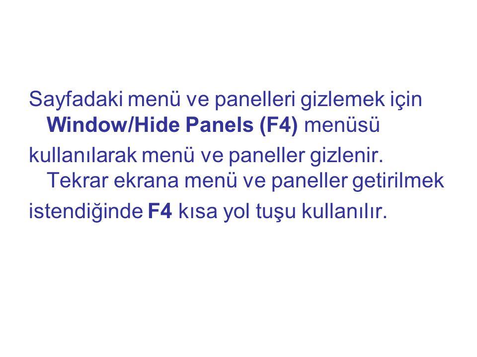 Sayfadaki menü ve panelleri gizlemek için Window/Hide Panels (F4) menüsü kullanılarak menü ve paneller gizlenir. Tekrar ekrana menü ve paneller getiri