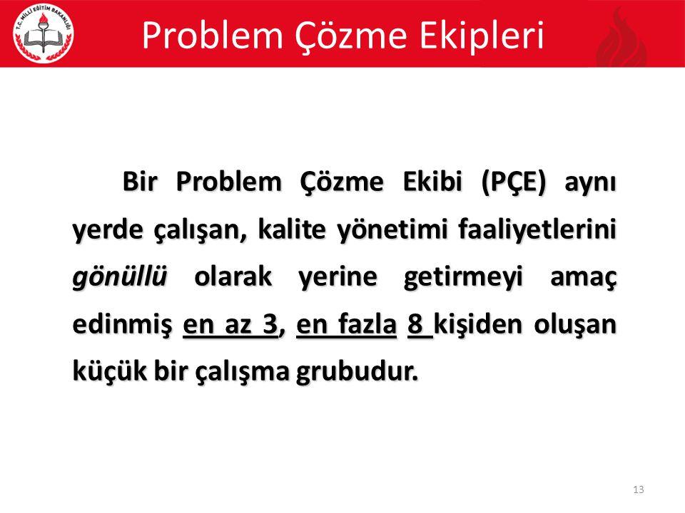 Bir Problem Çözme Ekibi (PÇE) aynı yerde çalışan, kalite yönetimi faaliyetlerini gönüllü olarak yerine getirmeyi amaç edinmiş en az 3, en fazla 8 kişi
