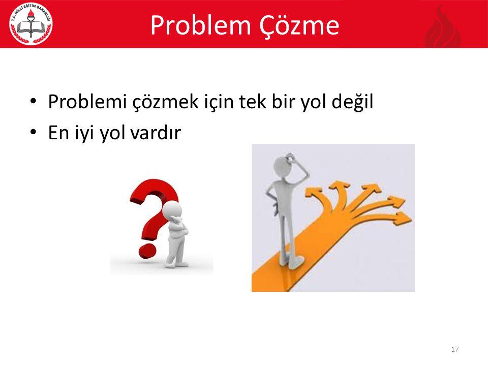Problemi çözmek için tek bir yol değil En iyi yol vardır Problem Çözme 17