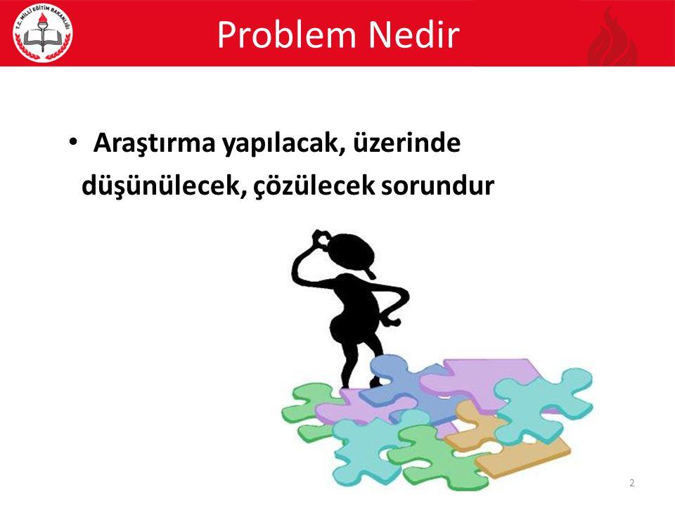 Araştırma yapılacak, üzerinde düşünülecek, çözülecek sorundur Problem Nedir 2