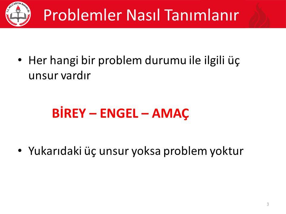 Her hangi bir problem durumu ile ilgili üç unsur vardır BİREY – ENGEL – AMAÇ Yukarıdaki üç unsur yoksa problem yoktur Problemler Nasıl Tanımlanır 3