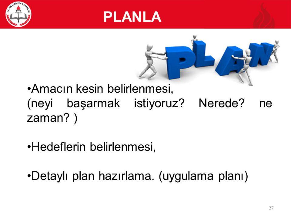 PLANLA Amacın kesin belirlenmesi, (neyi başarmak istiyoruz? Nerede? ne zaman? ) Hedeflerin belirlenmesi, Detaylı plan hazırlama. (uygulama planı) 37