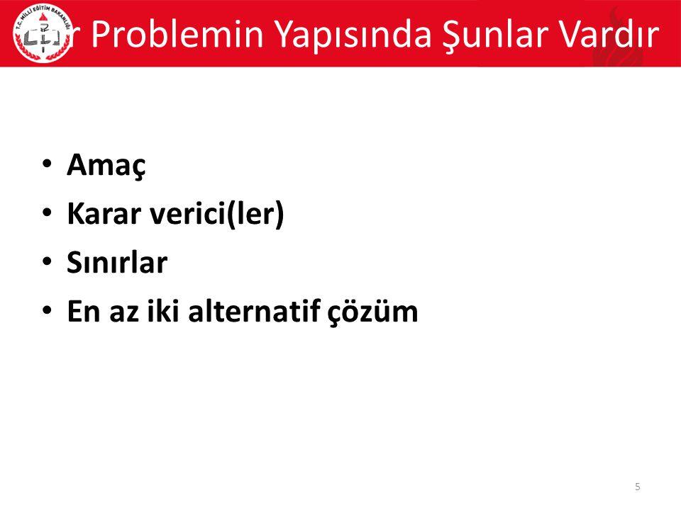 Amaç Karar verici(ler) Sınırlar En az iki alternatif çözüm Bir Problemin Yapısında Şunlar Vardır 5