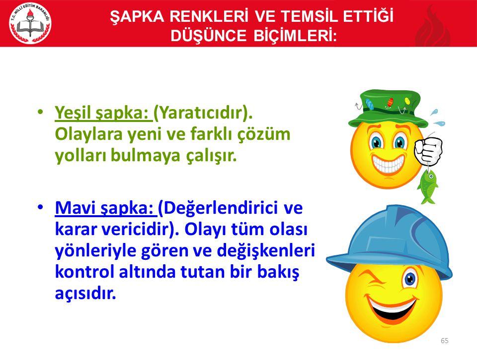 Yeşil şapka: (Yaratıcıdır). Olaylara yeni ve farklı çözüm yolları bulmaya çalışır. Mavi şapka: (Değerlendirici ve karar vericidir). Olayı tüm olası yö