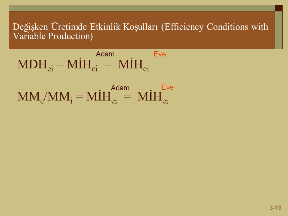 3-13 Değişken Üretimde Etkinlik Koşulları (Efficiency Conditions with Variable Production) MDH ei = MİH ei = MİH ei MM e /MM i = MİH ei = MİH ei AdamE