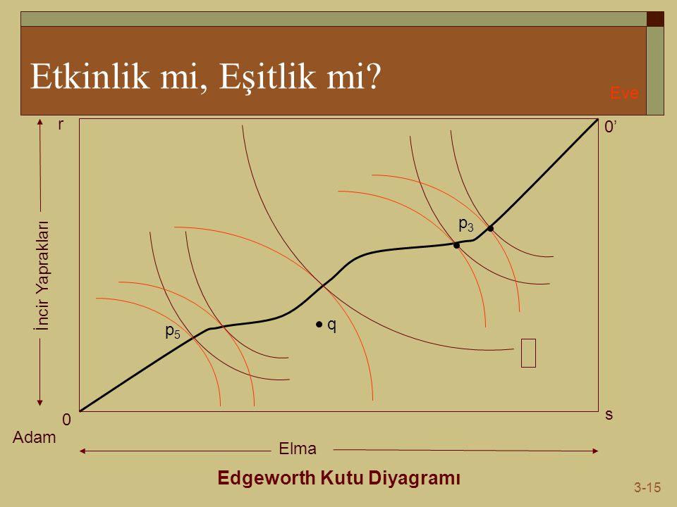 3-15 Etkinlik mi, Eşitlik mi? Edgeworth Kutu Diyagramı Adam Eve 0 0' s r Elma İncir Yaprakları q p5p5 p3p3