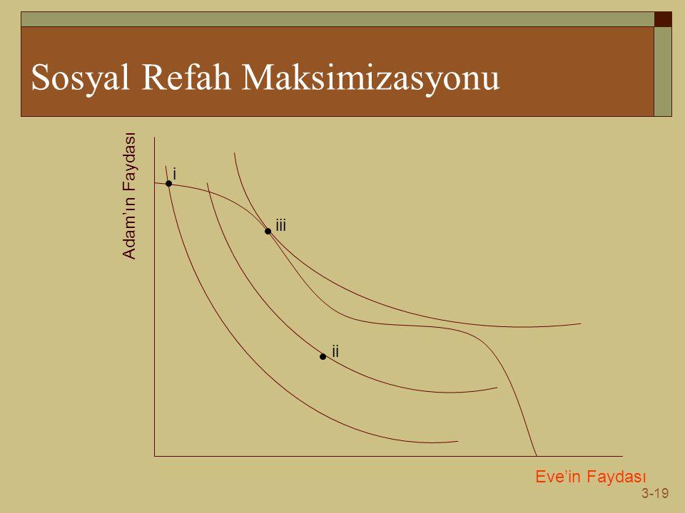 3-19 Sosyal Refah Maksimizasyonu Eve'in Faydası Adam'ın Faydası i ii iii