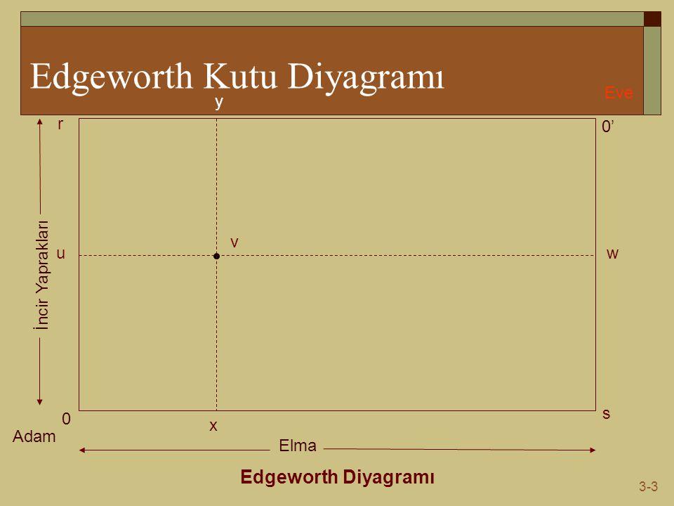 3-3 Edgeworth Kutu Diyagramı Edgeworth Diyagramı Adam Eve 0 0' s r Elma İncir Yaprakları v wu y x