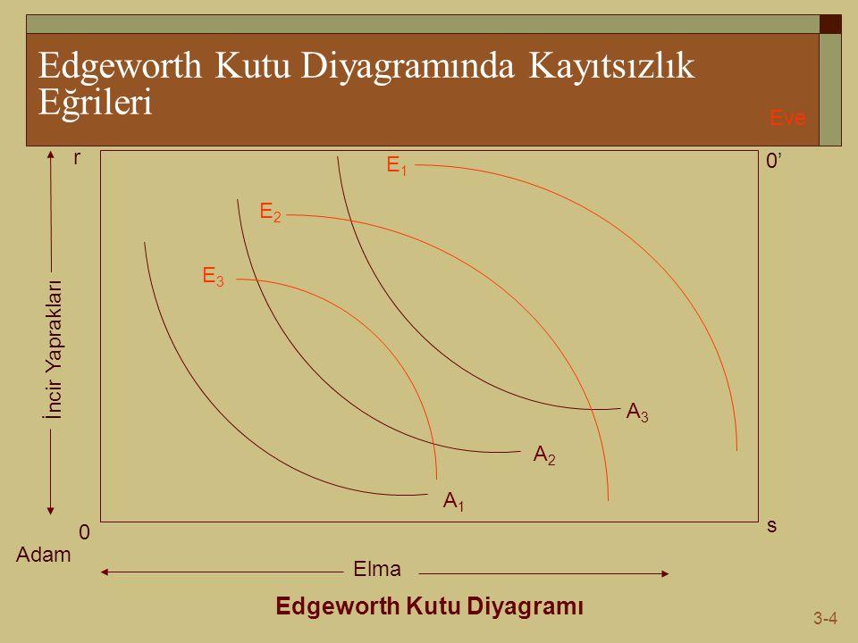 3-4 Edgeworth Kutu Diyagramında Kayıtsızlık Eğrileri Edgeworth Kutu Diyagramı Adam Eve 0 0'0' s r Elma İncir Yaprakları A1A1 A2A2 A3A3 E1E1 E3E3 E2E2