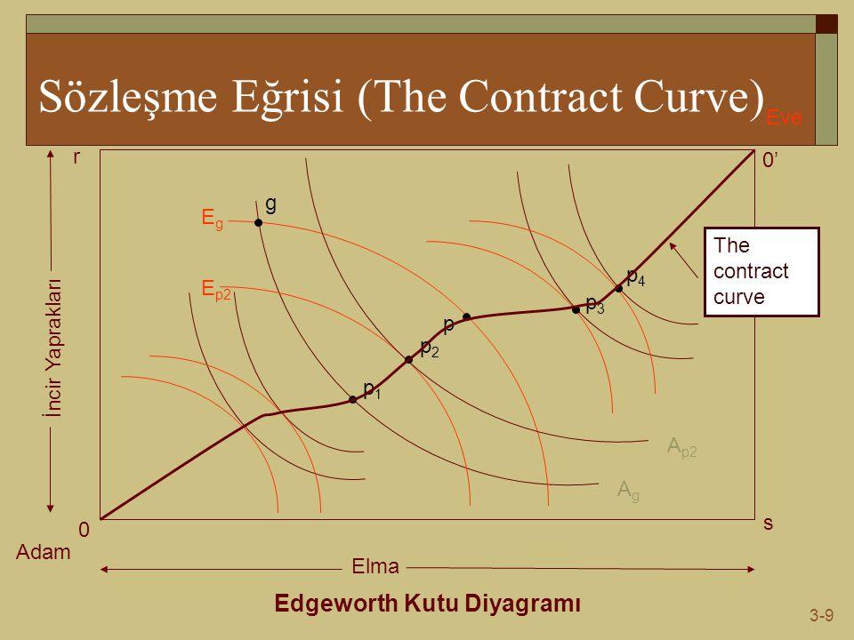 3-9 Sözleşme Eğrisi (The Contract Curve) Edgeworth Kutu Diyagramı Adam Eve 0 0' s r Elma İncir Yaprakları AgAg EgEg g p1p1 p E p2 A p2 p2p2 p3p3 p4p4 The contract curve