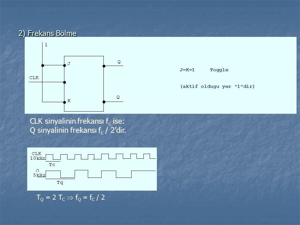 2) Frekans Bölme CLK 1 J K Q Q J=K=1 Toggle (aktif oldugu yer 1 dir) CLK sinyalinin frekansı f c ise: Q sinyalinin frekansı f c / 2'dir.