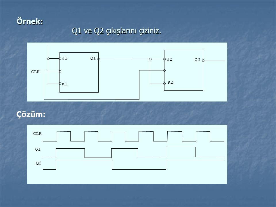 Örnek: Q1 ve Q2 çıkışlarını çiziniz. CLK J1 J2 K1 K2 Q1 Q2 Çözüm: CLK Q1 Q2